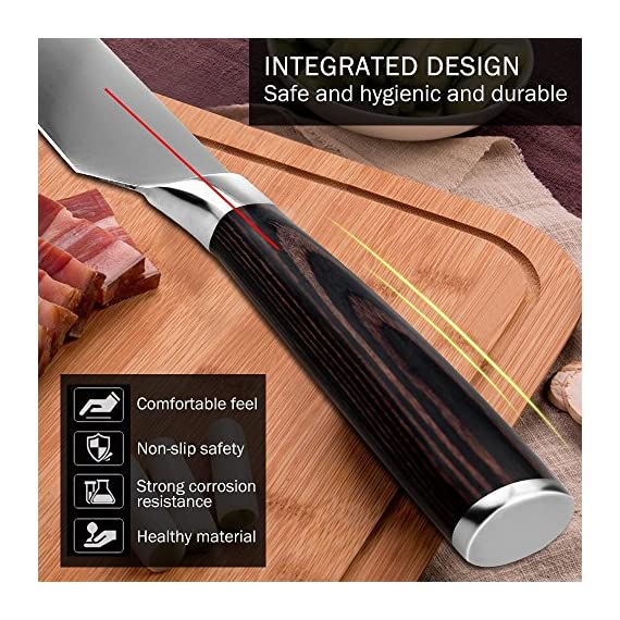 Chef Knife, Koncle 8 Inches Japanese High Carbon Stainless Steel Kitchen Knife with Sharp Blade, Ergonomic Handle, Pro Chef's Knife for Cutting, Chopping, Slicing, Carving, Mincing, Gift Box 4 Please carefully note our brand [Koncle] & our Amazon store name [Istyle Shop], any other stores selling our products are not authorized and are counterfeit with quality problems, we are not responsible! [Sharp stainless steel blade] Made out of 7CR17MOV stainless steel, which has high rust resistance. Chef knife also use of 16-18% chrome in the blade's metal composition, this can maintain a good brightness. The blade's razor sharp edge will allow you to cut your food effortlessly for a long time due to its excellent edge retention. [Multipurpose cooking knife] Versatile chef's knife is designed for chopping, mincing, slicing, and dicing with razor sharp, laser-tested, tapered knife edge is ground to form an exacting angle, to hold a sharp edge longer and ensure maximum cutting performance and durability.