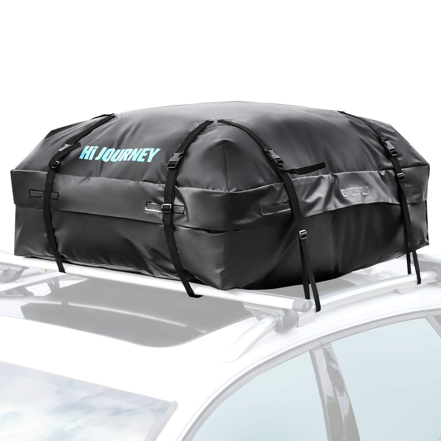 RABBITGOO Rooftop Cargo Carrier Car Roof Cargo Bag Easy to Install Straps - Waterproof Soft Shell Luggage Rack Bag on Car Topper 15 Cubic Feet
