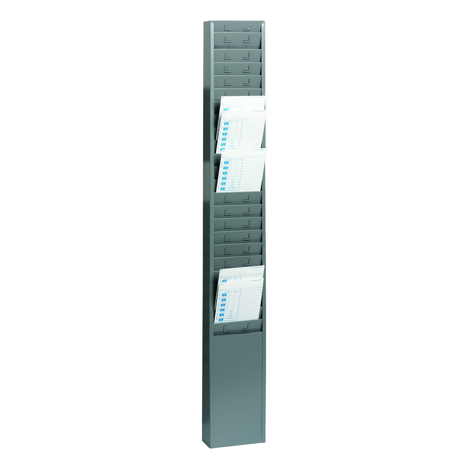 STEELMASTER 25-Pocket Steel Time Card Rack, 5.13 x 36 x 2 Inches, Gray (270R1TCRGY) by MMF Industries