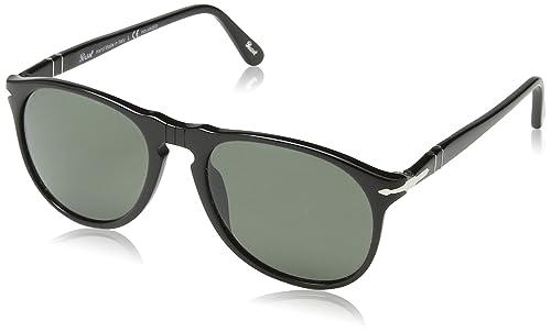 99b4d49f81ccd Persol 9649 Aviator Sunglasses Black Frame Green Polarized Lens PO9649S 52  mm
