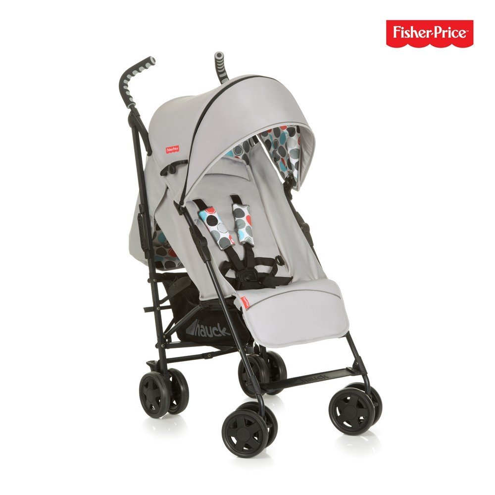 Hauck/Fisher Price Go-Guardian Palma Stroller/Small Folding Size/Ergonomic Handles/Practical Sun Canopy, Gumball Grey