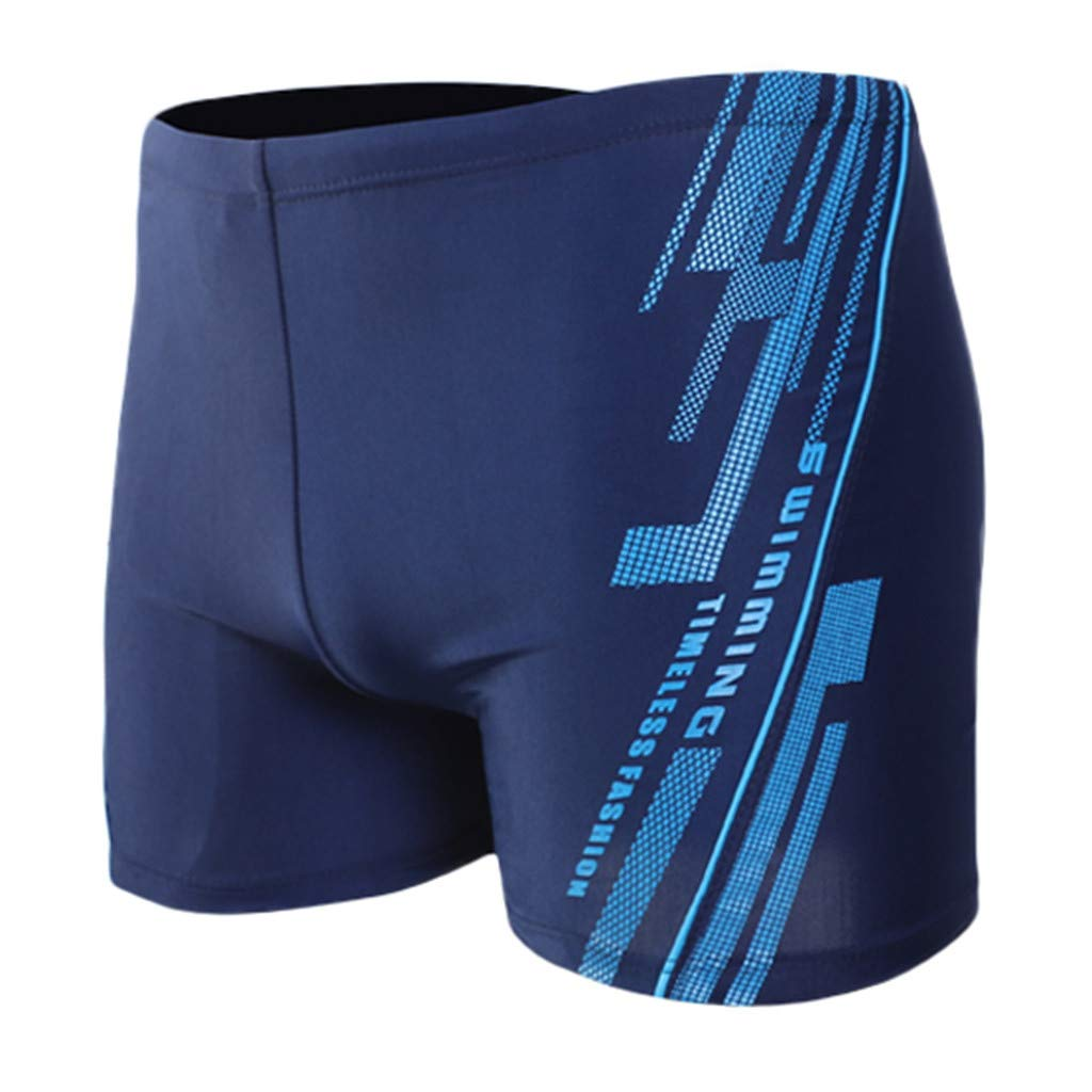 XQXCL Boxer Brief Swimming Trunks for Men Printing Sports Tight Shorts Dark Blue
