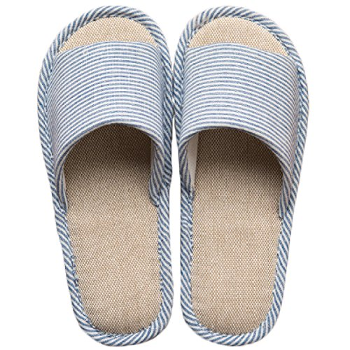 LYMMC House Slippers,Women's and Men's Cotton Causal Soft Slippers Anti-Slip for Indoor and Outdoor (Blue) by LYMMC