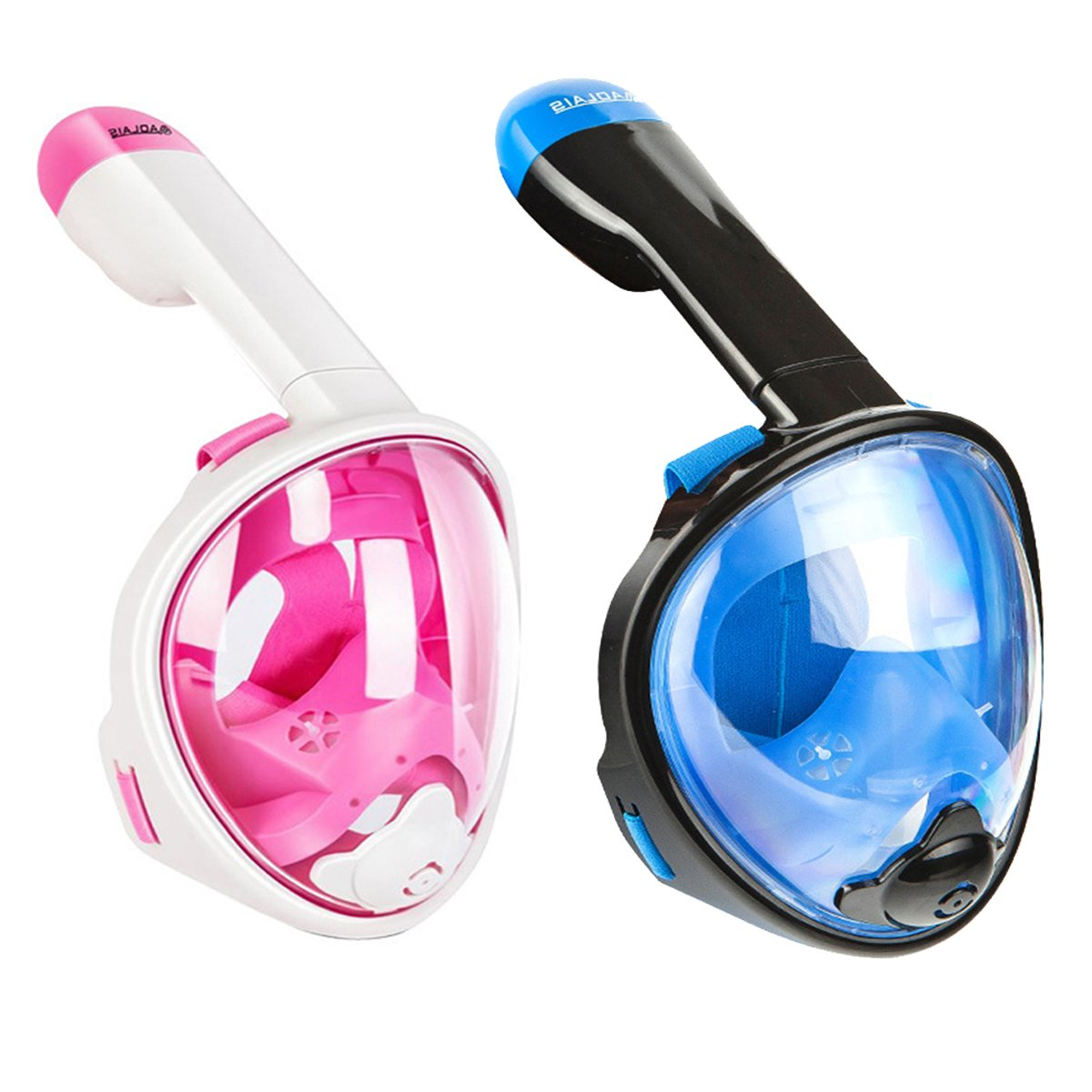 Panoramic Snorkel Mask 180° Larger Viewing Area Full Face Free Breathing Design Detachable Anti-Fog Swimming Equipment For Adults And Youth 2 Pieces,B,L