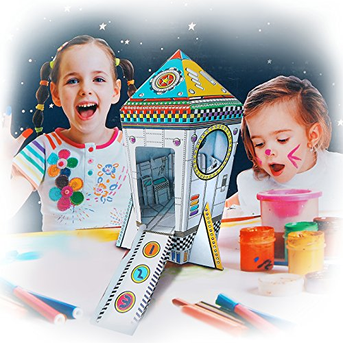 My Mini Rocket Ship Cardboard Playhouse for Kids to Color, Create your Own Indoor Fort, Life Size, Foldable for Easy Storage, by Spiritoy -