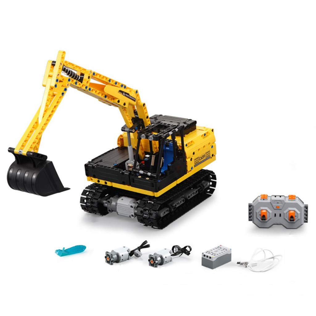 CreazyBee 2.4G Track Excavator Vehicle DIY Building Blocks Bricks RC Simulation Car Toys (Yellow) by CreazyBee