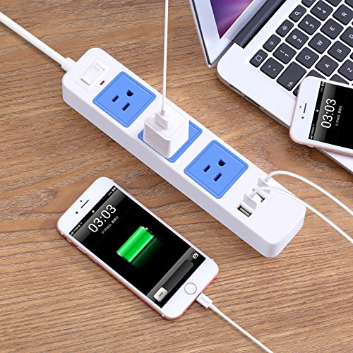 ZXpower USB Power Strip with 3 AC Outlets, 4 USB Charging Ports and 6.5Ft Cord for Home Office Travel (Blue) by ZXpower (Image #6)