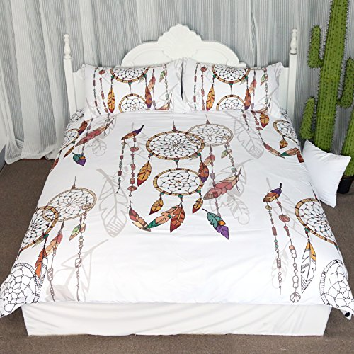 Boho Dreamcatcher Feathers Duvet Cover Set 3 Pieces Bohemian Hipster Chic Dream Catcher All Over Patterned Bedding Set (King) (Fashionista Comforter Set)