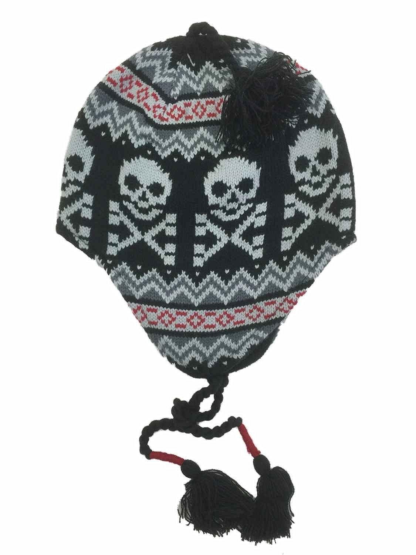 Ben Berger Boys Black Gray /& Red Skull Peruvian Trapper Hat Skulls /& Crossbones