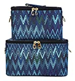 Jenzys Chevron Makeup Train Case Set (Blue)