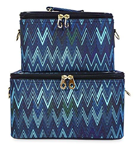 Jenzys Chevron Makeup Train Case Set (Blue) by Jenzys