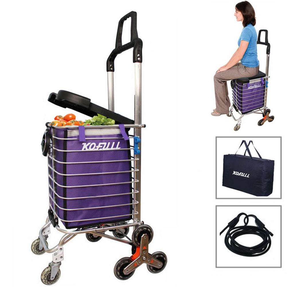 Kofull Grocery Laundry Utility Foldable Shopping Cart, Aluminum Alloy 3-Wheel Stair Climbing with Cover (Can sit) Body Weight 220 Ib with Cup Holder Hook Luggage Rope Storage Bag-177 Ib Capacity