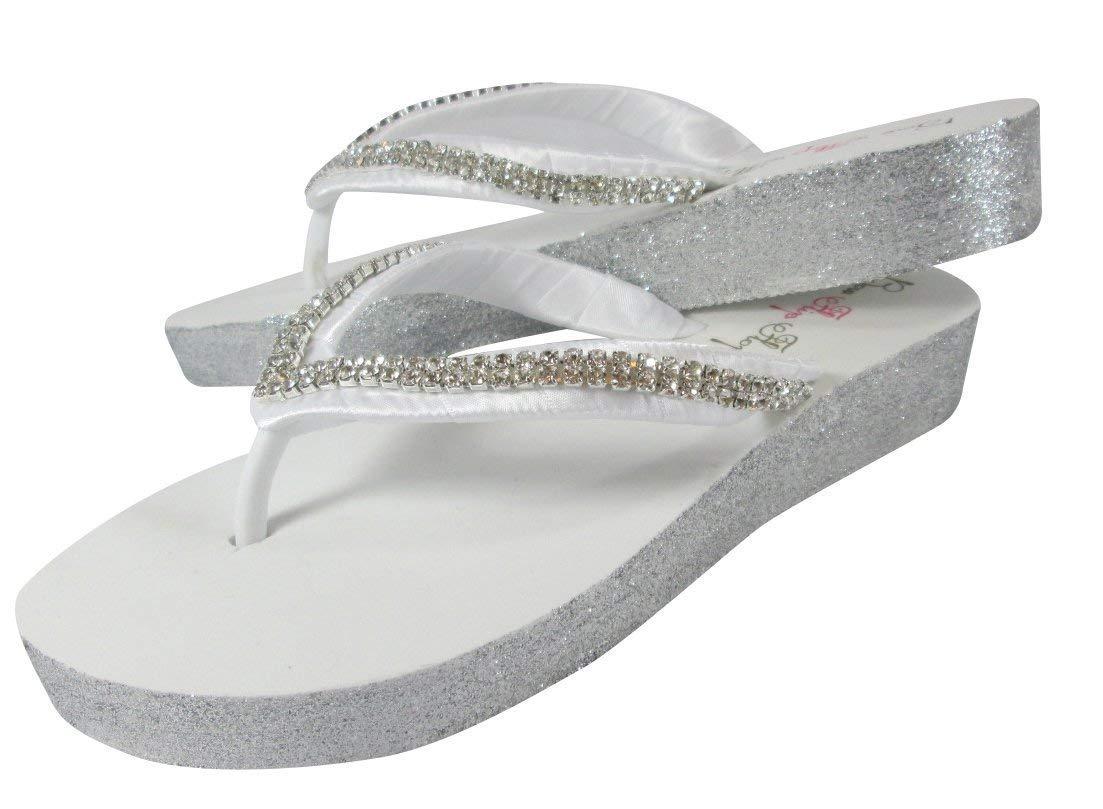 Flip Flops in Silver and White Diamond Rhinestone Low Wedge Heel Wedding Bridal Shoes