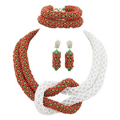 AfricanBeads 6 mm rojo y blanco disfraz de joyas Dubai novia ...