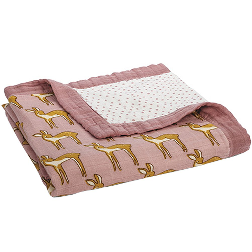 MilkBarn Bamboo and Cotton Big Lovey Baby Blanket Rose Doe