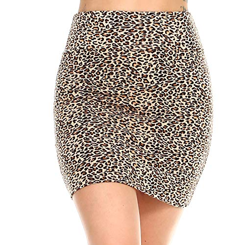 (Fashionazzle Women's Casual Stretchy Bodycon Pencil Mini Skirt (Small, KS05-#26 Brown))