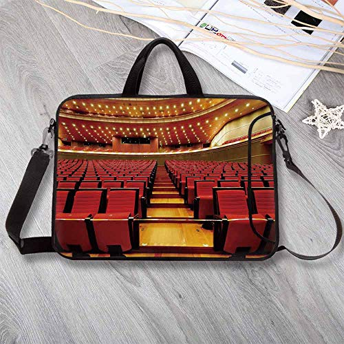 Musical Theatre Home Decor Waterproof Neoprene Laptop Bag,China National Grand Theater Hall Chairs Auditorium Laptop Bag for Business Casual or School,12.6
