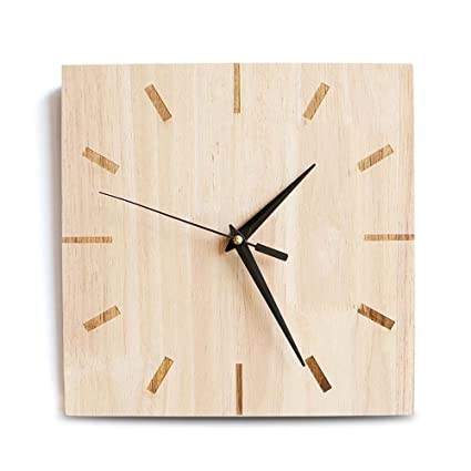 Yunfeng Wall Clock Silent,Solid Wood Decorative Mute Square Quartz Wall Clock Mute Non-