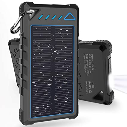 Hobest Solar Charger 10000mAh,Waterproof Outdoor Solar Power Bank with LED Flashlight,Dual USB Portable Charger Solar for Smartphones,GoPro Camera,GPS ...