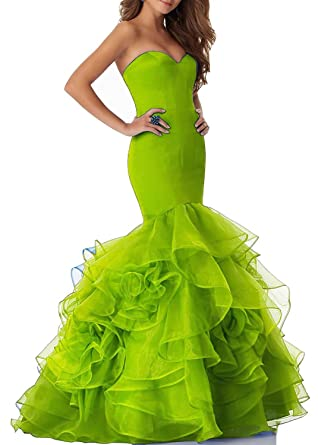 5ef18346da63 Promworld Women's Strapless Sweetheart Evening Dress Ruffles Mermaid Long  Prom Dress Apple Green US2