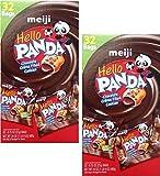 (US) Meiji Hello Panda Chocolate Creme Filled Cookies, Box of 32 - 0.75 Oz Bags (Set of 2)