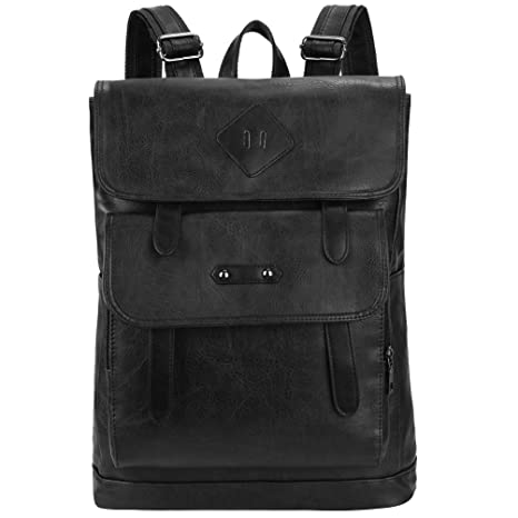 84e0d17df569 Amazon.com  VBG VBIGER Mens PU Leather Backpack Vintage Laptop Backpack  School Bookbag (Black K1)  Computers   Accessories