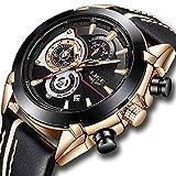 Mens Watches Waterproof Sports Watch Chronograph Stainless Steel Analog Quartz Watch Men Luxury Brand LIGE Fashion Dress Business Wristwatch Black Leather