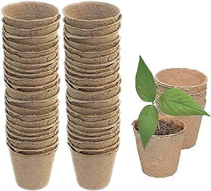 6CM Ghopy 100 Petits Pots de semis en Fibre biod/égradable de 6 cm avec 100 /étiquettes Blanches en Plastique de 1 x 5 cm,Pots de Culture pour Fleur Graine Plantule Succulentes