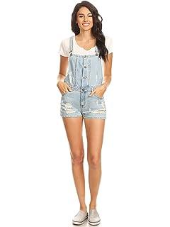 2caa181223bad Anna-Kaci Juniors Laid-Back Chic Distressed Shortall Denim Overall Jean  Shorts