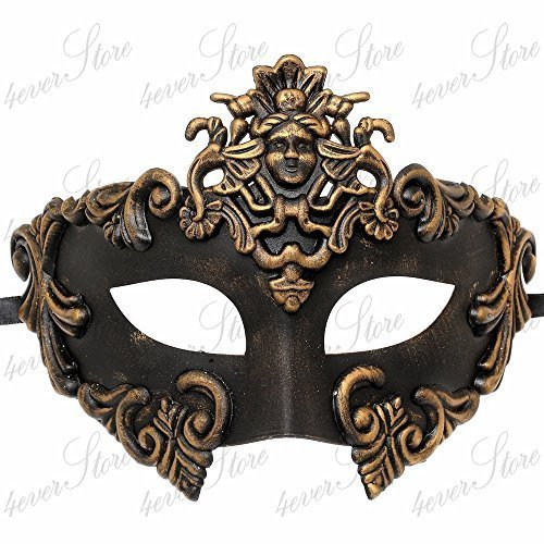 Roman Couples Costumes - Gold Medusa Roman Warrior Venetian Masquerade Mask