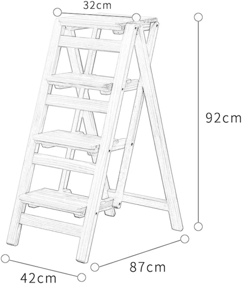 JIN Practical Step Stool Step Laddere Step s Step Stair Chair Seats Pine Wooden Ladder Ual-Use Climb 4-Step Ladder Chairtifunction Portable Flower Rack Shoe Benchrage Shelf,C C