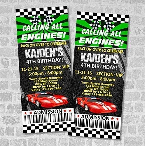 Amazoncom Race Car Birthday Party Ticket Invitation Custom Racing