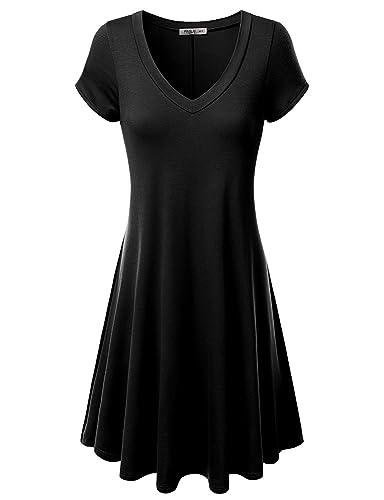 J.TOMSON Womens Short Sleeve V-neck Flared Dress (S-3XL)