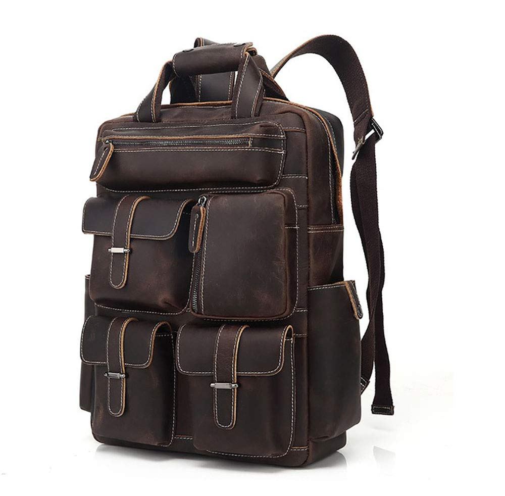 AY-MBJDFX メンズ創造的なレジャー旅行バッグ、 牛革素材、 登山/キャンプ/ショッピングバッグ、 通気性/耐摩耗性 (色 : Brown)  Brown B07HD7QV3S