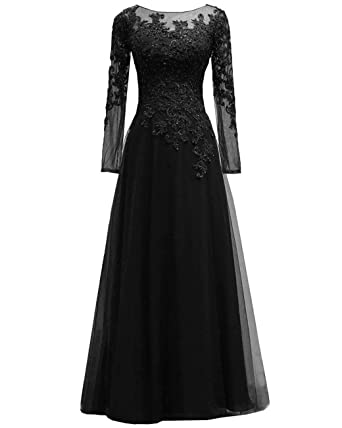 bb0c330f6c6 Women s Beaded Appliques Tulle Mother of The Bride Dress Long Sleeves  Formal Evening Gown Black