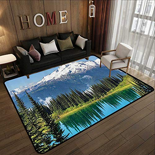 Bathroom Rugs,Cottage Decor Collection,Scenery of Image Lake and Snowy Glacier Peak in Washington USA with Tall Pine Tree Forest,White 71'x 81.5' Non-Slip Bath Hotel Mats