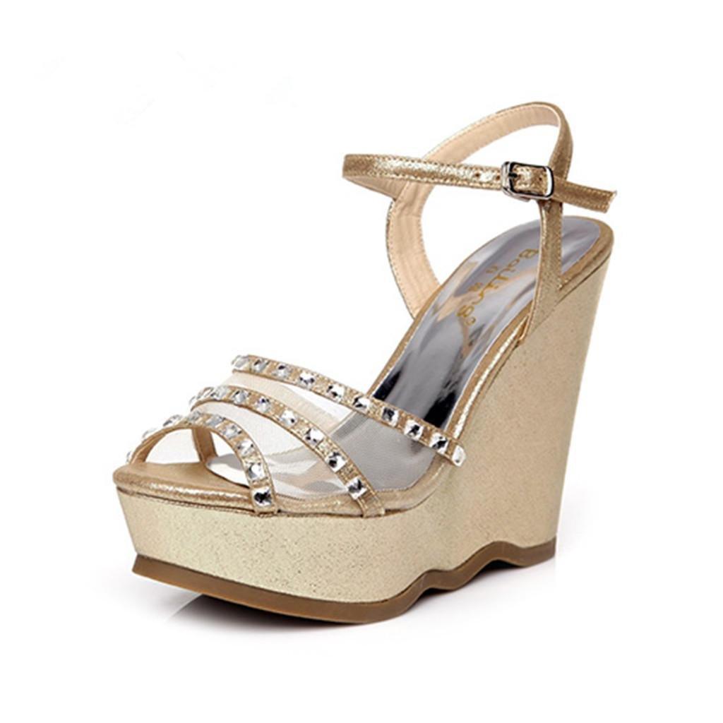 BaiLing Damen Sommer Sandalen/Wedge Ferse Ferse Sandalen/Wedge Wasserdicht/Strass Dicke Boden/Net Garn Kleine Größe Schuhe, schwarz, CN37 - 729dd9