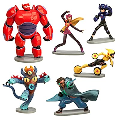 Big Hero 6 Figure Play Set - 6 Pcs Set Hiro Baymax Mech (Red) Go Go Honey Lemon Wasabi Fred by Big Hero 6: Toys & Games