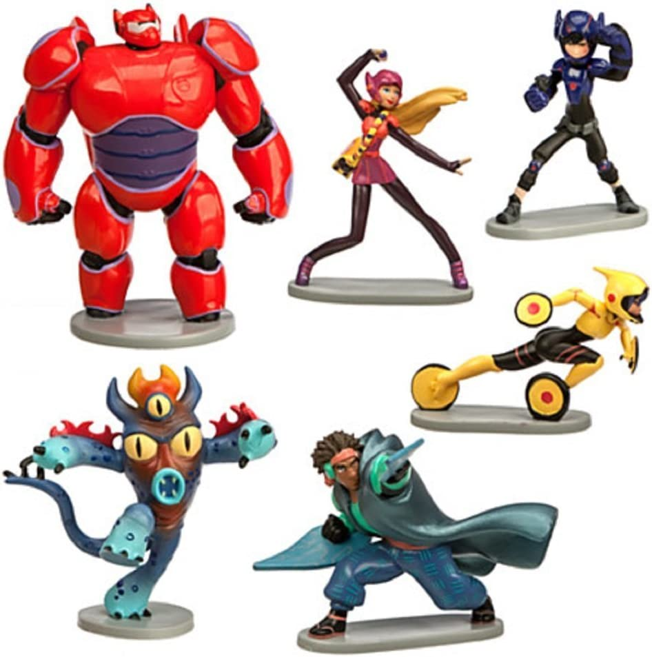 Amazon Com Big Hero 6 Figure Play Set 6 Pcs Set Hiro Baymax Mech Red Go Go Honey Lemon Wasabi Fred By Big Hero 6 Toys Games