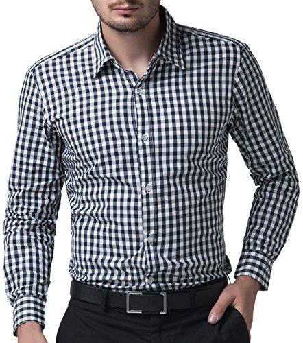 Plaid Dress Shirt - Casual Formal Checkered Dress Shirts for Men Slim (M) KL-1