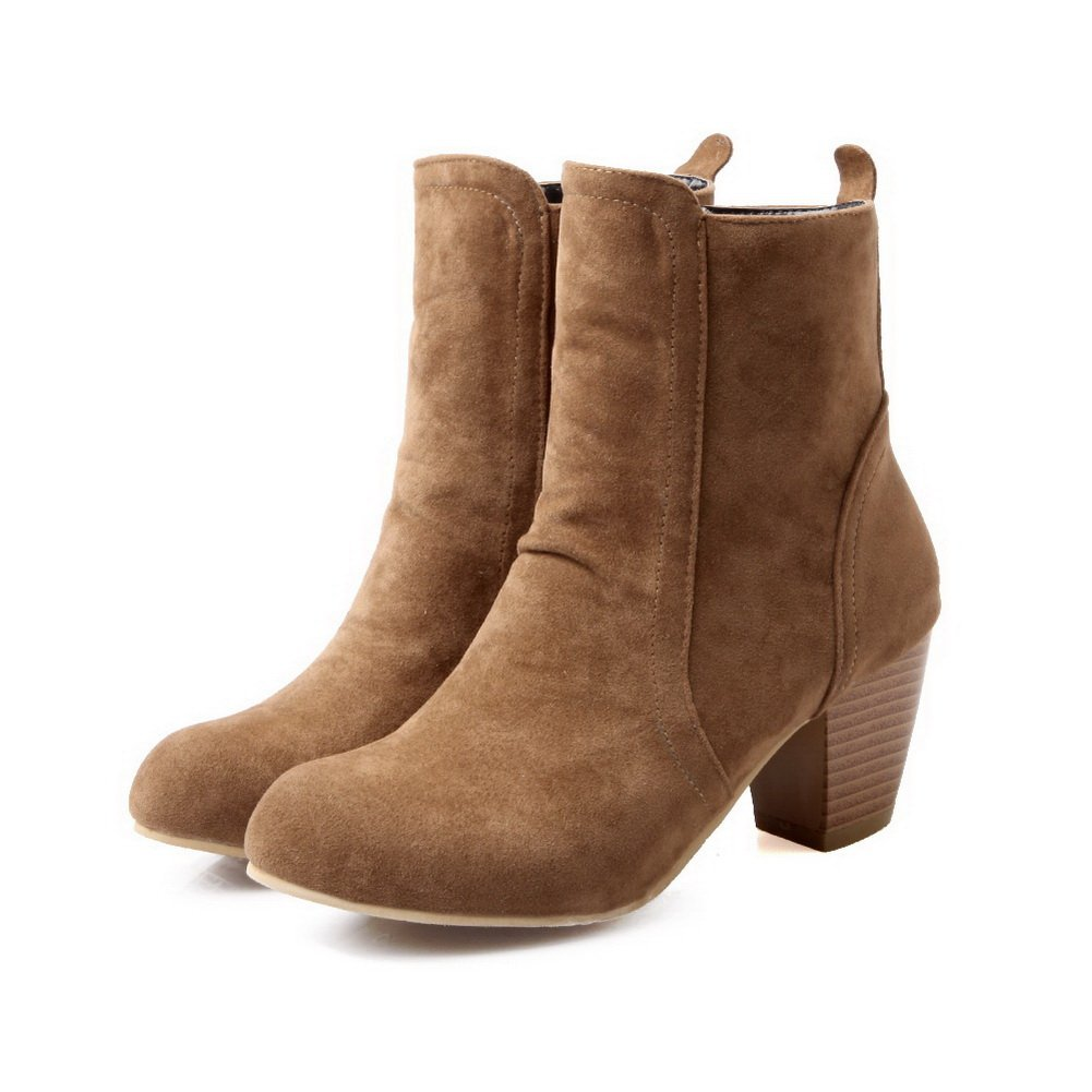 AdeeSu Ladies Composite Round Toe Kitten-Heels Imitated Leather Boots