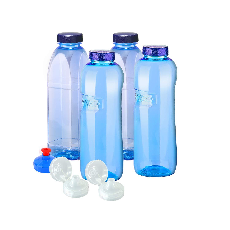 Wassersprudler Wasserhahn, 4x Original Trinkflaschen aus TRITAN ohne Weichmacher Sparset 2 x 1 Liter (rund), 2x 1 Liter (eckig) + 4 Standartdeckel + 2 Sportdeckel (FlipTop) + 1 Trinkdeckel (Push PULL) BPA , BPS , Phtalath frei, Wassersprudler kaufen