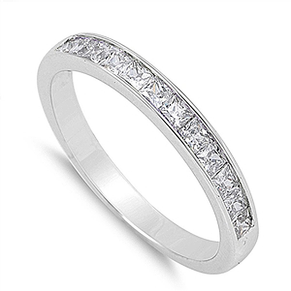 Double Accent Sterling Silver Wedding Ring Princess Cut Channel Set Wedding Band 3MM (Size 5 to 12), 12