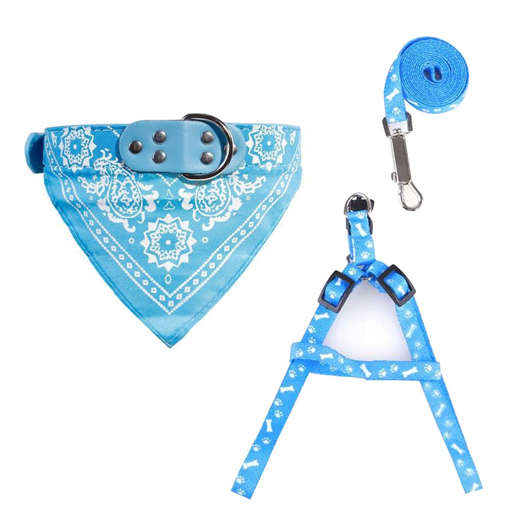 Kwan Dog Cat Small Puppy Harness Collar Leash Traction Kit Bandana Scarf Leather Collar Set