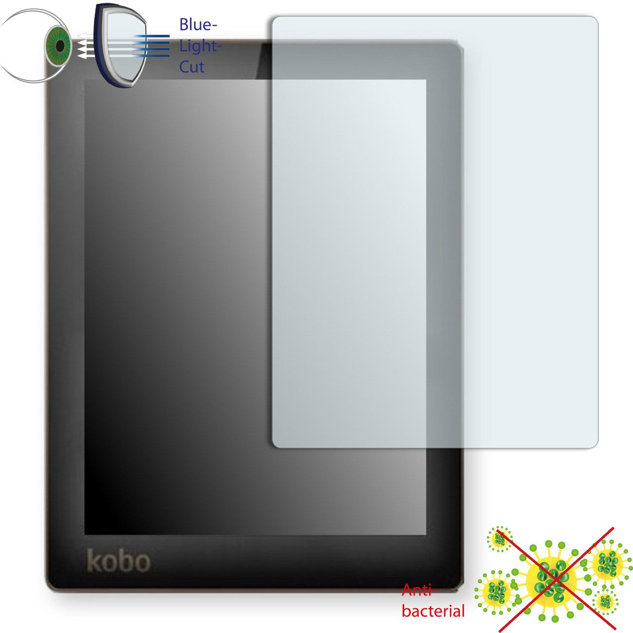 1 x DISAGU ClearScreen screen protection film for Kobo Aura antibacterial, BlueLight filter protective film #dh6094
