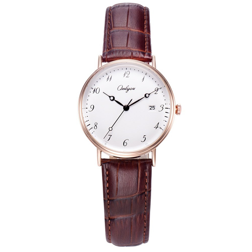 ONLYOU Womens Quartz Watch,Business Casual Fashion Wrist Watch Classic Calendar Date Window,Waterproof 30M Water Resistant Comfortable Leather Band Watches (Coffee)