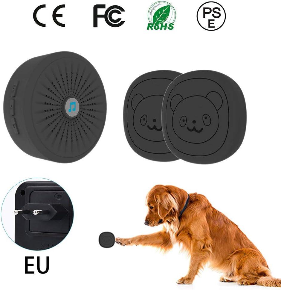 Campana de Puerta de Toque inal/ámbrico para Mascotas Campana de Entrenamiento para Mascotas Juego de Timbre de comunicaci/ón con bot/ón de presi/ón Winbang Campana de Puerta para Perros
