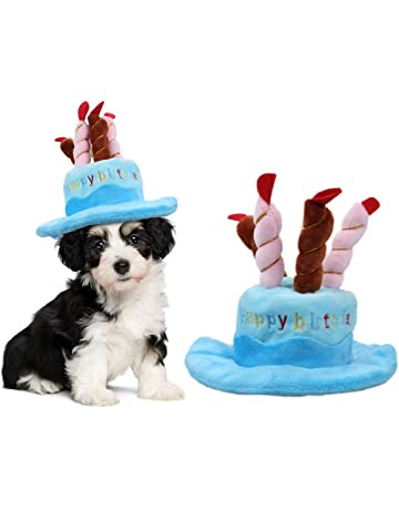 OWUDE Pet Birthday Hat Cute Dog With Cake Candles Design For Cats