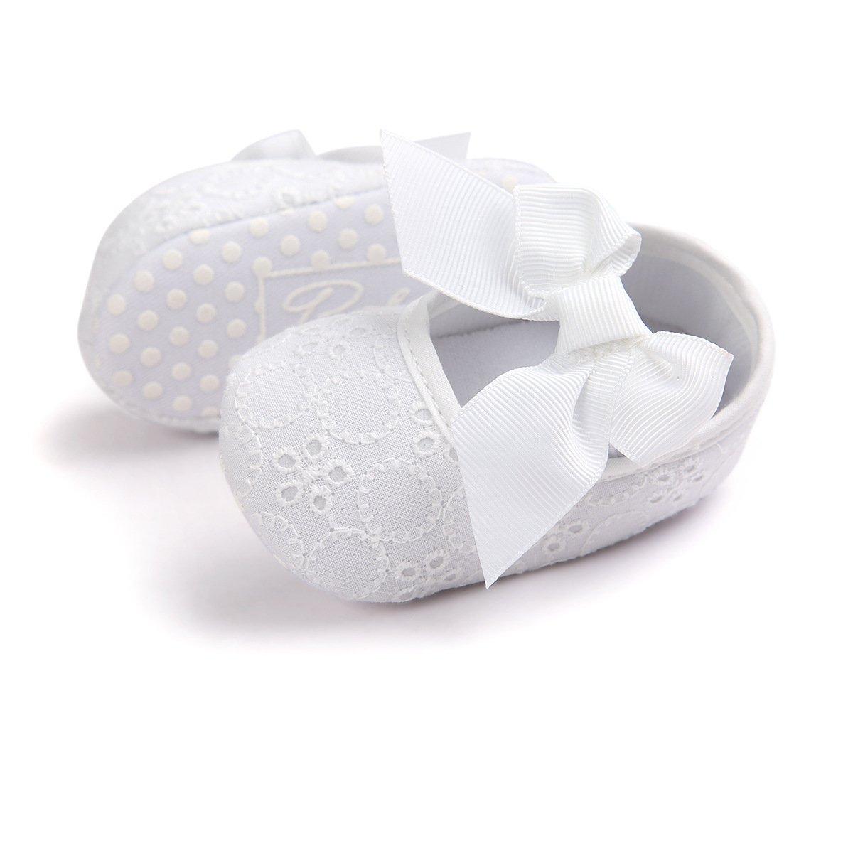 0-6 mois, violet Auxma Nouveau n/ée B/éb/é fille Semelle souple Chaussures Bowknot Fond doux Fleur Prewalker baskets