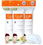 Tulips 50 Round Facial Cotton Pads in a Ziplock Bag (Pack of 3); Made from 100% Pure Soft Cotton, Best for Applying & Removing Makeup, safe for sensitive Skin